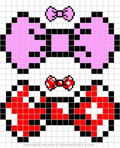 hairbow pixel art template free by deviant miners on