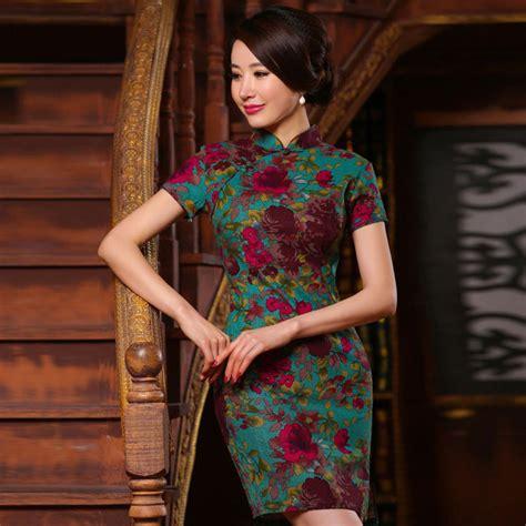 Baju Dress Lq 10 Cheongsam Maron fashion retro cheongsam dress floral cheongsams qi pao linen print