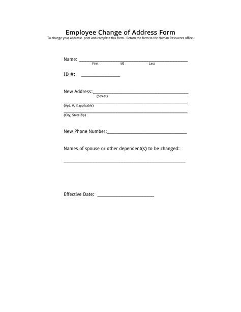 employee address change form template sle change of address form emt security officer cover