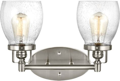 modern bathroom light fixture seagull 4414502 962 belton modern brushed nickel 2 light