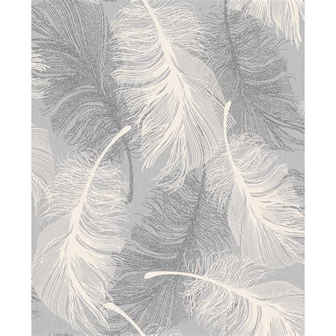 Modern Home Design Wallpaper by Coloroll Feather Motif Wallpaper Grey Decorating Diy