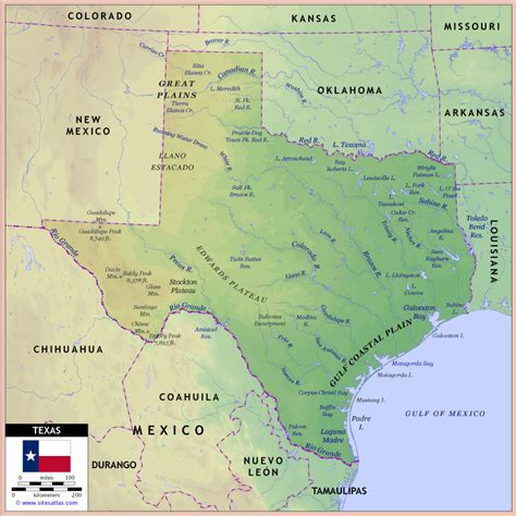 physical map texas texas geographical features maps images frompo