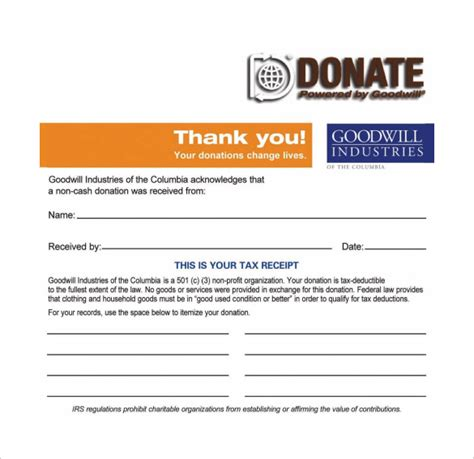 goodwill charitable donation receipt template 23 donation receipt templates pdf word excel pages
