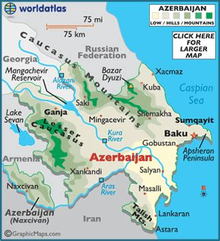 baku on world map azerbaijan map geography of azerbaijan map of