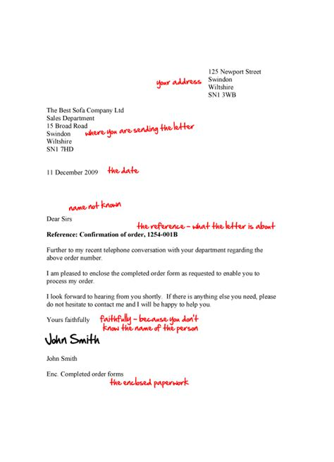 Business Letter Structure The Structure Of A Business Letter