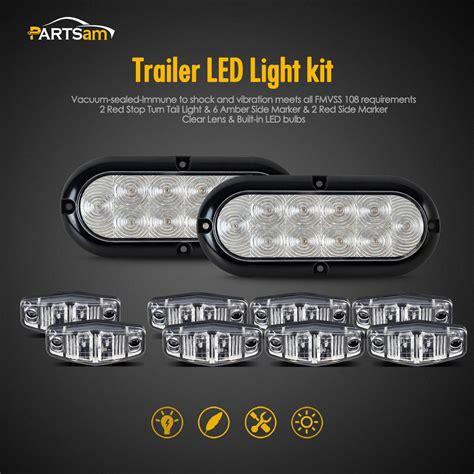 clear led trailer lights trailer led light kit clear lens stop turn