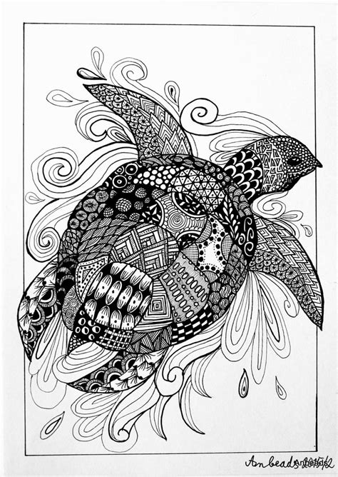 turtle mandala coloring pages zentangle turtle by anbeads on deviantart