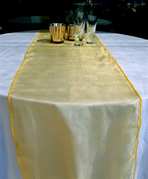 organza table runners yellow 6 pack