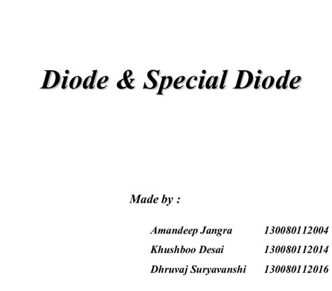 pn junction diode working principle ppt working principle diode and special diode