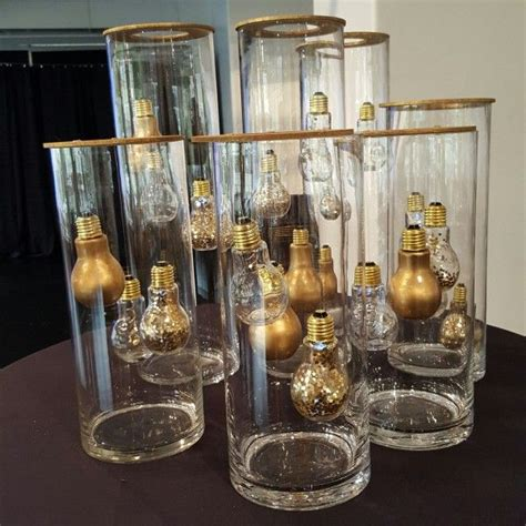 golden lightbulb centerpieces wedding