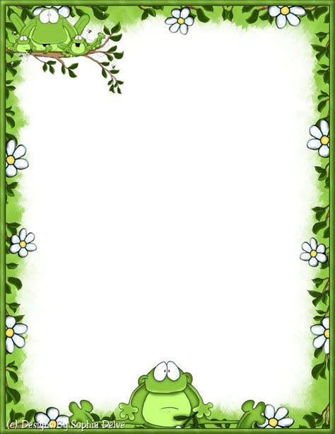 frog border writing paper papel de carta marcos frame frogs
