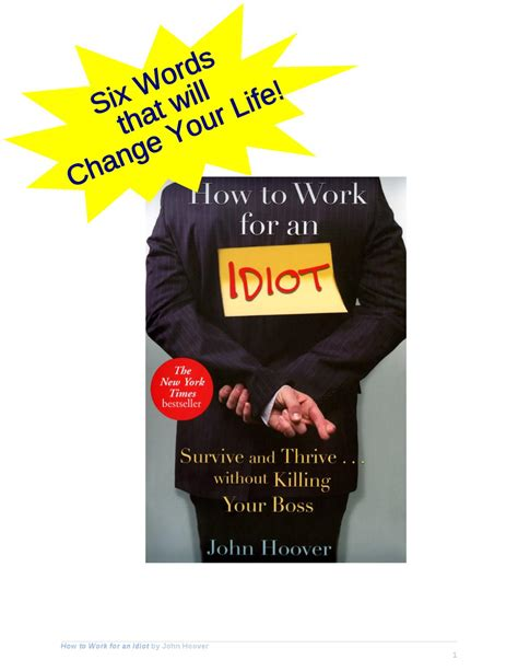 How To Work For An Idiot By John Hoover By Cynthia