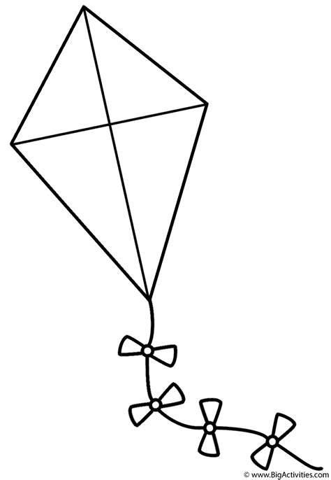 printable coloring pages kites kite with bows coloring page spring