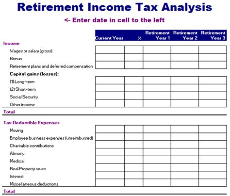 retirement income tax analysis template blue layouts
