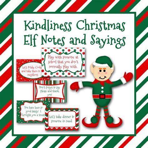 printable kindness elf ideas kindness christmas elf notes and sayings printable