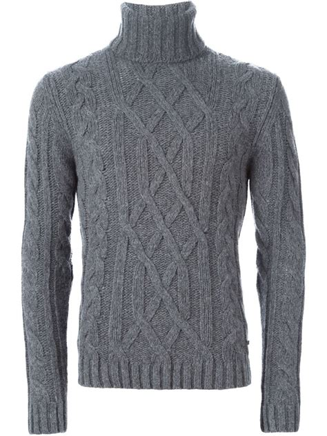 mens cable knit turtleneck sweater woolrich cable knit turtleneck sweater in gray for lyst