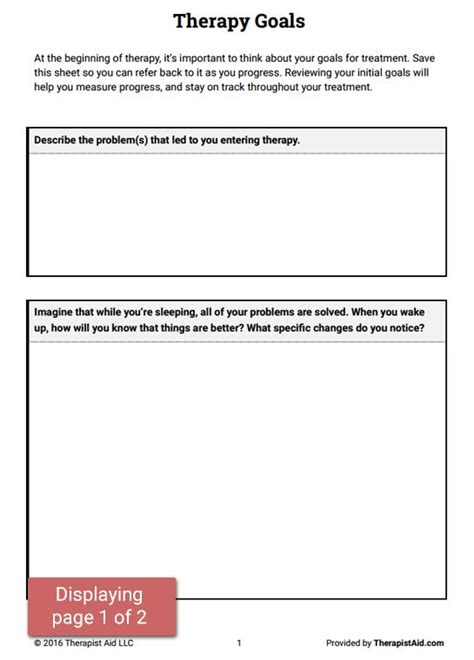 Therapy Worksheets by Developing Treatment Goals At The Start Of Therapy Can