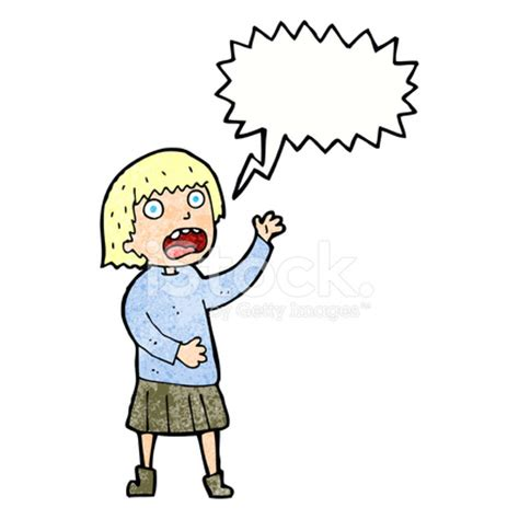 cartoon stressed out woman with speech bubble stock photos