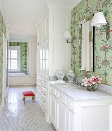 classic white bathroom  mint green  pink wallpaper