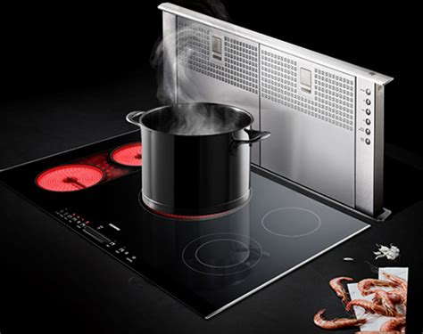 cooktop with built in exhaust fan