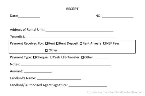 Annual Rent Receipt Template by Rent Receipt Template Ontario Receipt Template