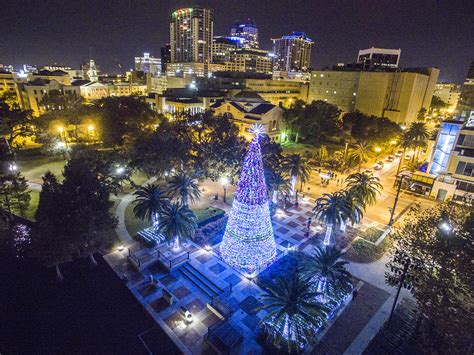 lake eola christmas tree video tree on lake eola drones orlando