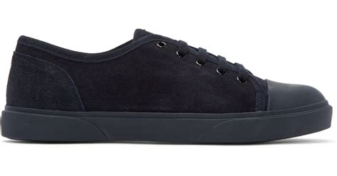 apc sneakers a p c navy suede jim tennis sneakers in blue for lyst