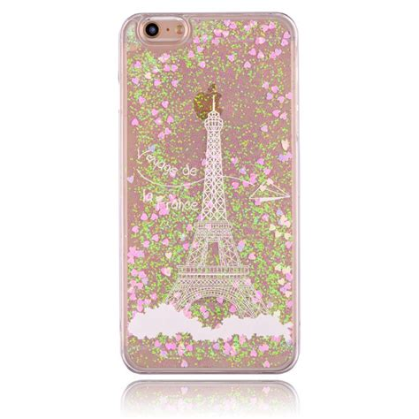 eiffel tower glitter liquid back cover for iphone 6s plus luxury fashional