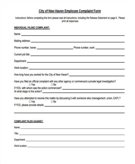 employee investigation report template sle employee complaint form preparing a federal