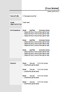 standard cv template word standard cv template