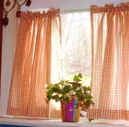 Kitchen Cafe Curtain Orange Gingham Kitchen Caf 233 Curtain Unlined Or With White Or Blackout Lining In Many Custom
