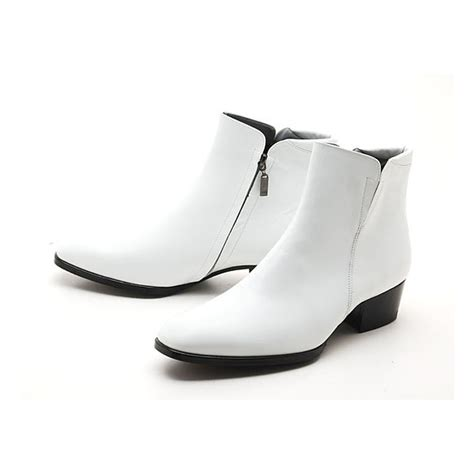 mens white dress boots mens real cow leather side zipper ankle dress shoes boots