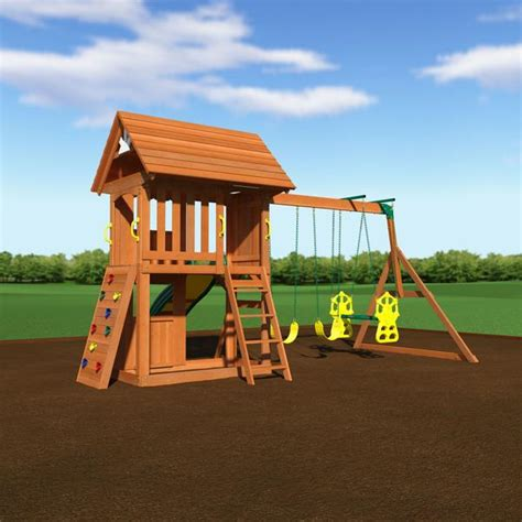 long island swing club alpine wooden swing set with assembly