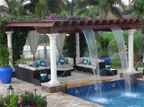 Pool Trellis Ideas luxurious custom pool with trellis with waterfall features and a pit custom pools