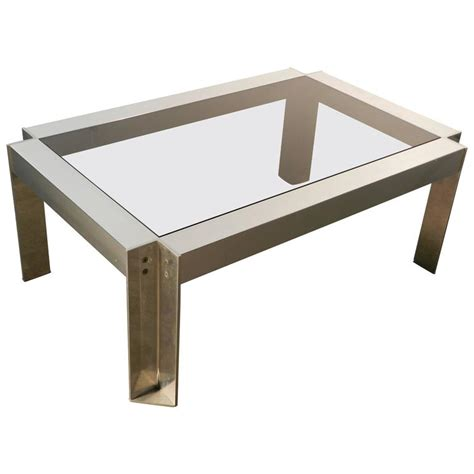 Brushed Steel Table L by Georges Frydman Coffee Table In Brushed Steel Edition E