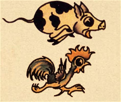 pig and chicken tattoo believe in stories tattoos in folklore