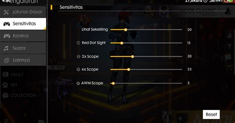 settingan sensitivitas  fire auto headshot setelah