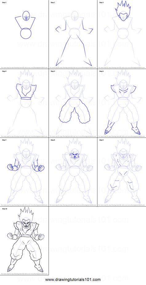 Drawing Step By Step by How To Draw Vegito From Z Printable Step By