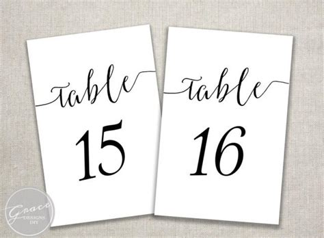 free printable table number cards template black slant table numbers printable calligraphy style