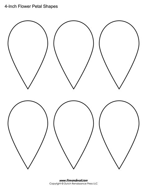 Printable Flower Petal Templates For Making Paper Flowers Printable Flower Petal Template Pattern
