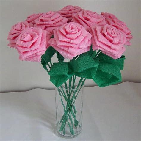 Handmade Roses - handmade origami crinkle paper roses 12 pink