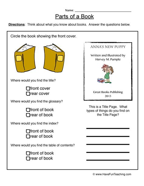 Parts Of A Book Worksheet by Book Parts Worksheet
