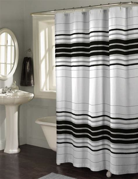 Black And White Shower Curtains Black White Striped Shower Curtain Pmcshop