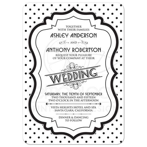 Wedding Card Designs Black And White by Wedding Invitation Retro 50s Black White Polka Dot