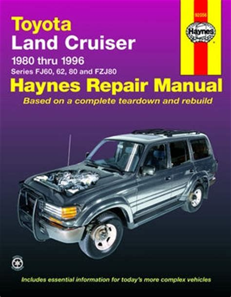 toyota land cruiser haynes repair manual 1980 1996 hay92056