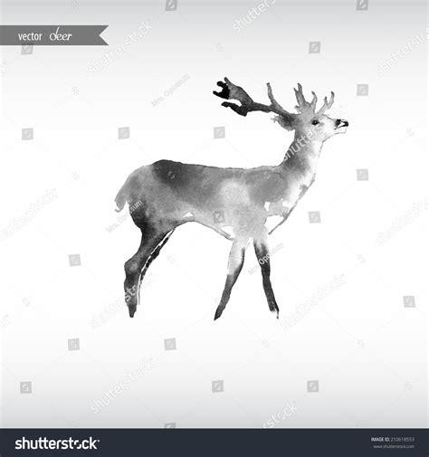 watercolor deer tutorial watercolor deer stock vector 210618553 shutterstock