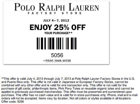 printable polo outlet coupons 25 off polo ralph lauren factory store printable