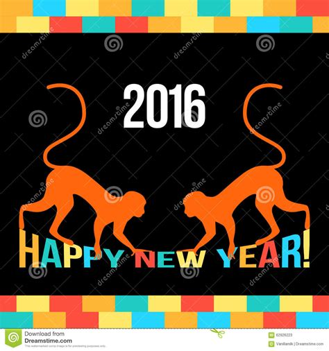 new year monkey card template new year bright card template with monkeys stock