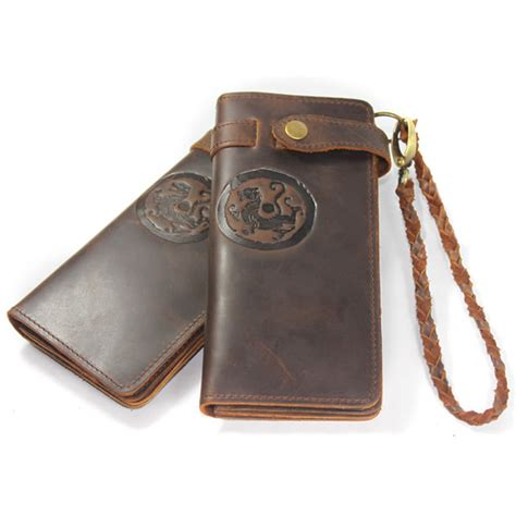 Handmade Leather Wallet Pattern - tiger totem pattern handmade vintage leather wallet w1