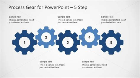 5 steps process slide design with gear shapes for